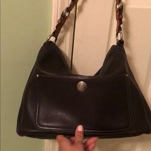 Chocolate Leather Coach Shoulder Bag